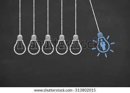 Human Resource Idea Bulb Concepts Drawing - stock photo