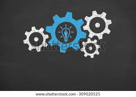 Human Resource Idea Conceptual Drawing on Blackboard - stock photo