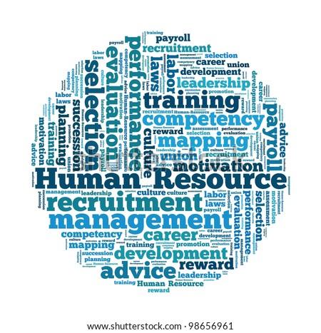Human Resource Management in word collage - stock photo