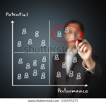 human resource manager selecting high performance and high potential person - stock photo