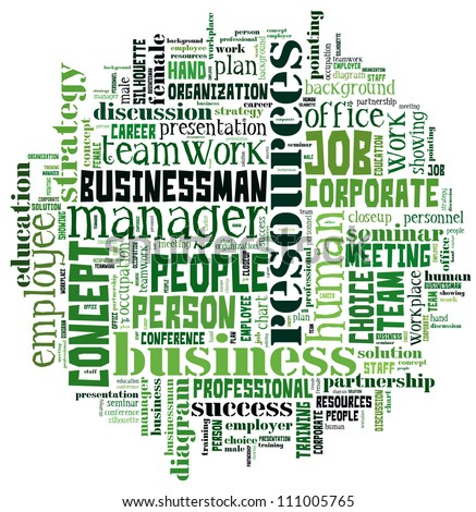 Human Resource sign in Word Collage - stock photo