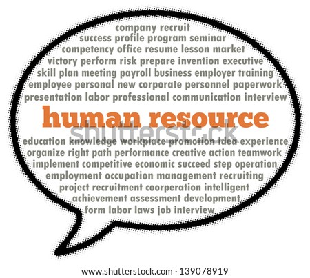 Human resource word collage in speech bubble - stock photo