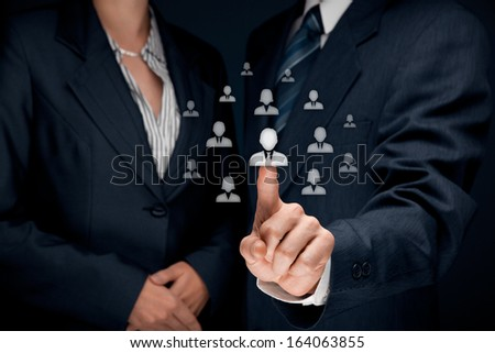 Human resources and CRM concept - officer and supervisor looking for employee represented by icon. - stock photo