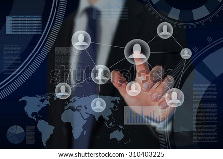 human resources and global business strategy concept - stock photo