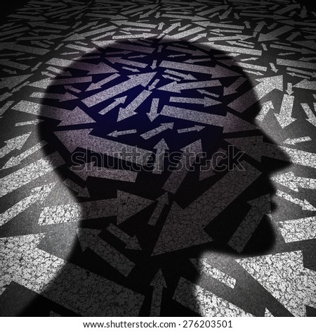 Human resources business concept and career consultant symbol as pavement with condusing painted arrows and a cast shadow of a human head as a symbol for guidance counselor. - stock photo