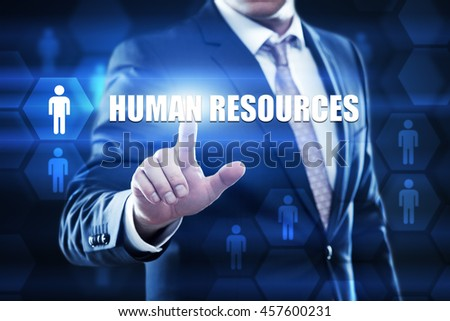 human resources, business,technology and internet concept. Businessman are using a virtual computer and are selecting human resources. - stock photo