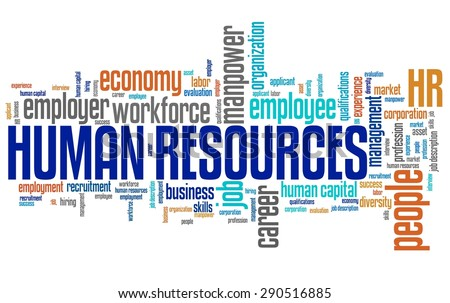 Human resources company issues and concepts word cloud illustration. Word collage concept. - stock photo