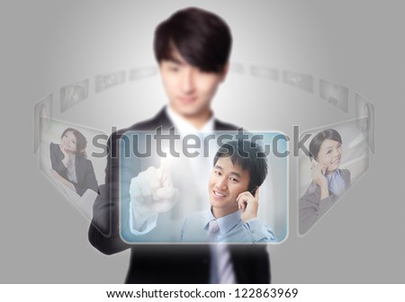 Human Resources concept, business man hand finger choosing perfect employees options by touch button - stock photo