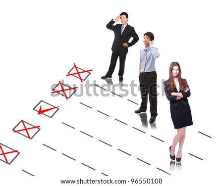 Human Resources concept: Check mark to find and choose the best company employee in selection box - stock photo