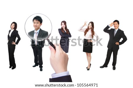 Human Resources concept, choosing the perfect candidate for the job, model are asian people - stock photo