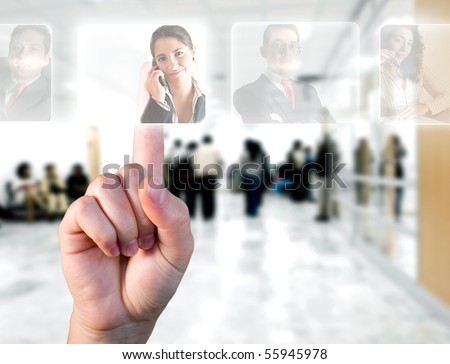 Human Resources concept / hand choosing employees options