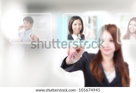 Human Resources concept, hand finger choosing perfect employees options by touch button - stock photo