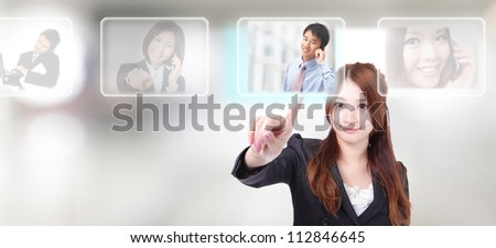 Human Resources concept, hand finger choosing perfect male employees options by touch button - stock photo