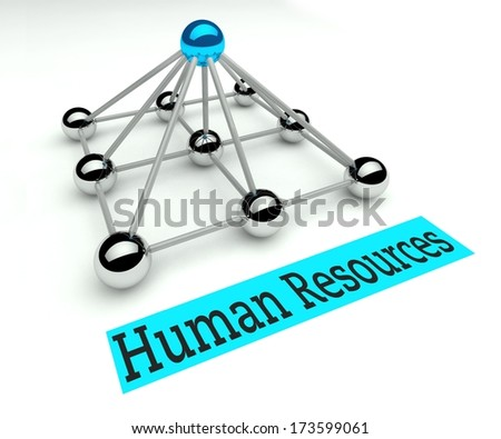 Human resources concept, Hierarchy and management with pyramid - stock photo