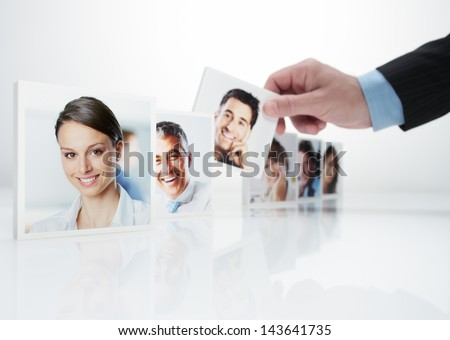 Human Resources concept, Portraits of a group of business people - stock photo