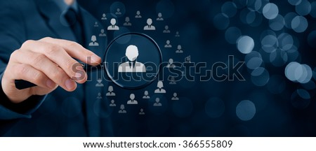 Human resources, CRM, data mining and social media concept - officer looking for employee represented by icon. Gender discrimination in employees selection. Wide banner with bokeh in background.