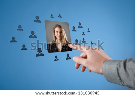 Human resources, CRM, professional social networking and data mining concept. Woman stand out of the anonymous crowd. Gender equality quotes concept.