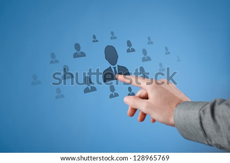 Human resources, CRM, social network and data mining concept.