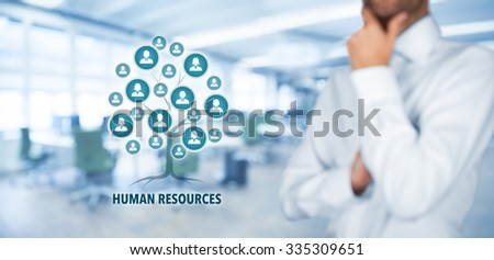 Human resources (HR) concept. Human resources is a root of a tree in relationships with customers. Customers represented by icons. - stock photo