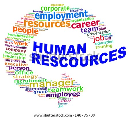 HUMAN RESOURCES info text graphics and arrangement concept (word clouds) on white background - stock photo