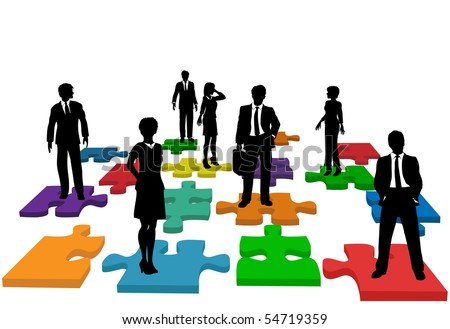 Human resources issues and other people issues and solutions with people on jigsaw pieces, which actually form a puzzle. - stock photo