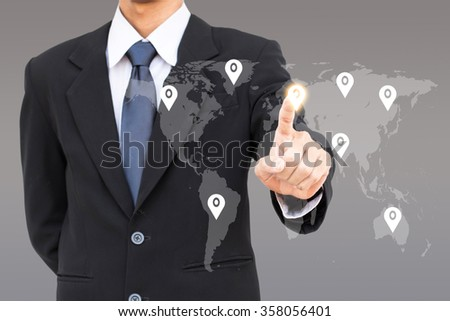 Human resources management business man select check in icon on the world.