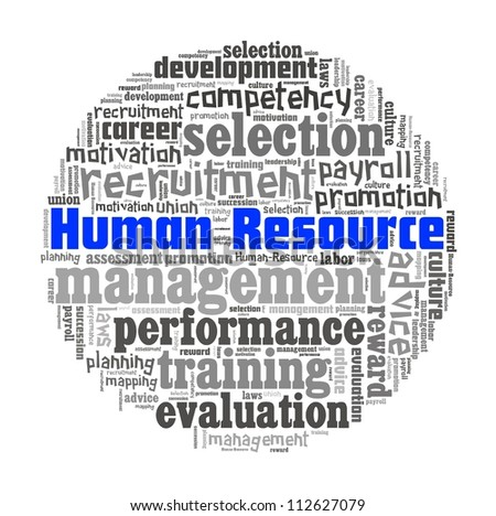 Human Resources Management in word collage - stock photo