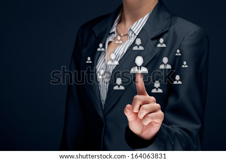 Human resources officer (HR) choose employee standing out of the crowd. Select team leader concept.