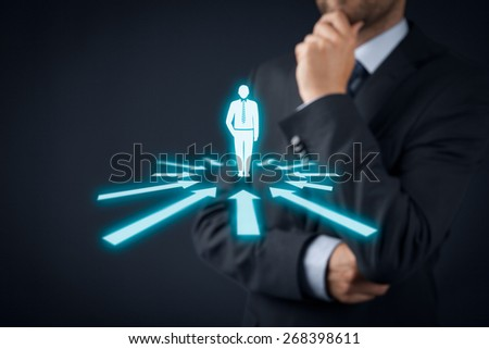 Human resources officer think about employee or team leader (CEO). Individual customer marketing and personalization concept. - stock photo