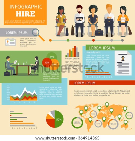 Human resources personnel recruitment infographics - stock photo