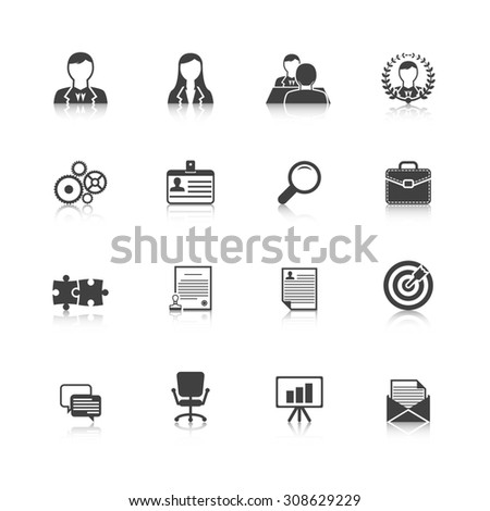 Human resources personnel selection strategy and professional people management black icons collection abstract isolated  illustration - stock photo