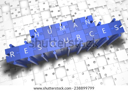 Human Resources - puzzle 3d render illustration with block letters on blue jigsaw pieces  - stock photo