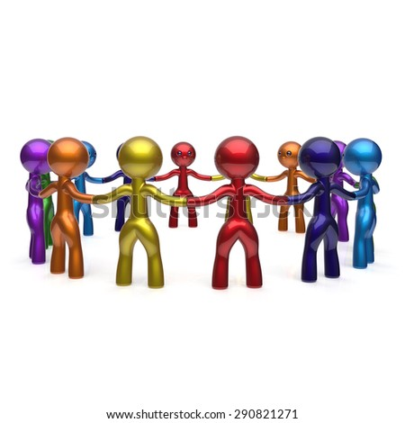 Human resources teamwork stylized men together circle chain social network people characters large group friendship individuality team different cartoon friends unity join concept. 3d render isolated - stock photo