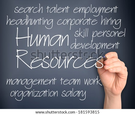 Human resources word cloud handwritten on pale blue background - stock photo