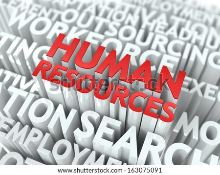 Human Resources - Word in Red Color Surrounded by a Cloud of Words Gray. Wordcloud Concept. - stock photo