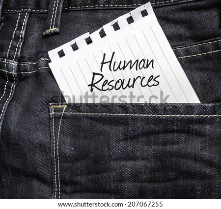 Human Resources written on a peace of paper on a jeans background - stock photo