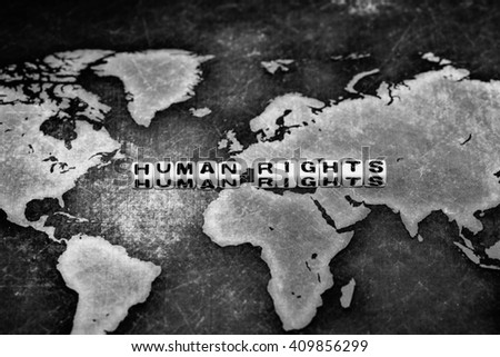 HUMAN RIGHTS on cubes, conceptual image - stock photo