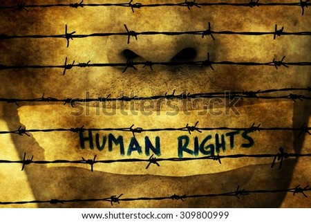 Human rights tape over mouth - stock photo