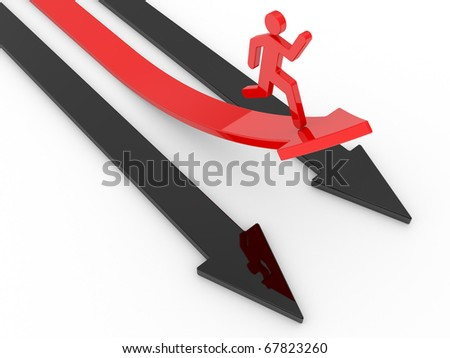 human run in a red arrow for success