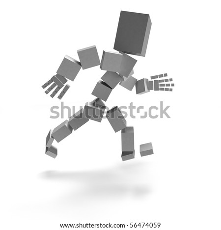 human running alone in white background