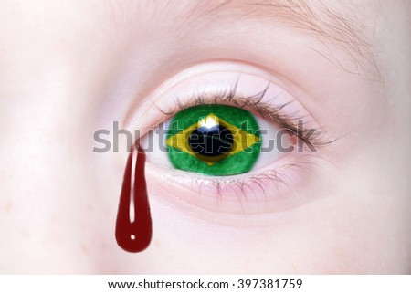 human's eye with national flag of brazil with bloody tears. concept - stock photo