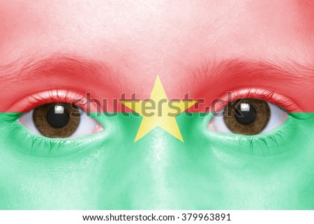 human's face with burkina faso flag