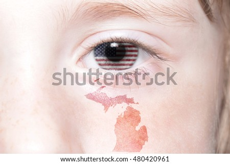 Human S Face With National Flag Of United States Of America And Michigan State Map Concept