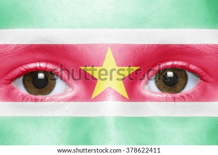 human's face with surinamese flag