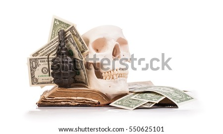 human scull  and holy book isolated on white background