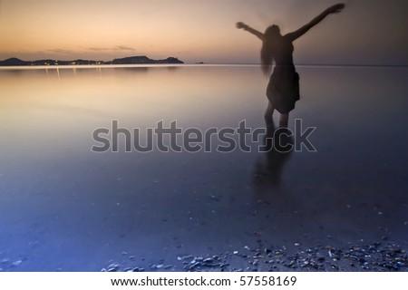 human shadow at sunset - stock photo