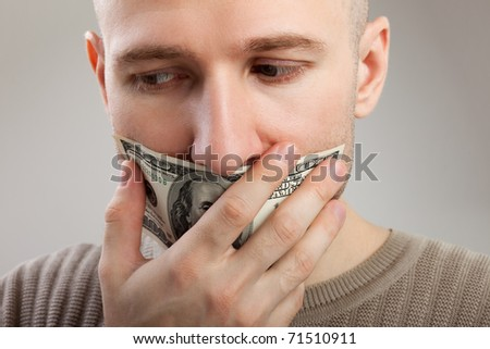 Human silence - dollar currency gag shut men mouth