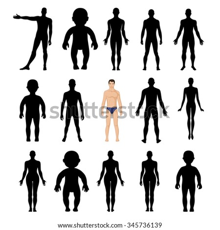 Human silhouettes template figure (front and back view)