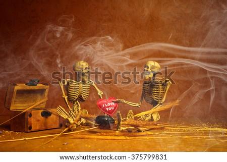 Human skeleton lovers - stock photo