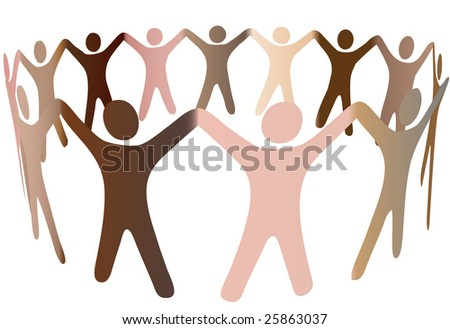 Human skintones join hands and blend together in a ring of diverse multicultural people. - stock photo